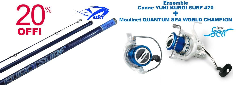ensemble canne yuki kuroi surf 420 et moulinet quantum sea world